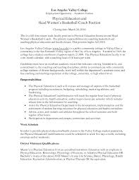 Pleasing Resume Basketball Coach Sample On Job Coach Cover Letter