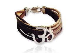 wide leather om bracelet