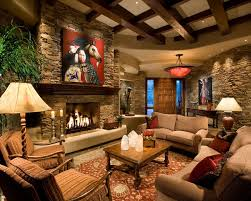 country style living room. Interior Stone Wall In Country Style Living Room O