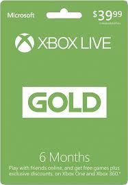 microsoft xbox live 6 month gold membership s