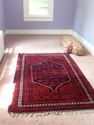 red turkish rug with blue orchid walls