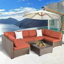 7pcs outdoor sectional sofa set rattan