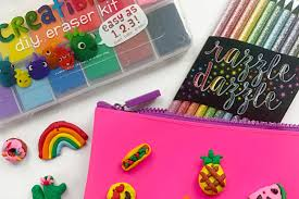 package a creatibles diy eraser kit with some colored pencils and a colorful pencil pouch and now you ll have a wonderful gift that anyone would love