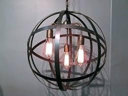 wooden orb light orb light industrial steel orb sphere wine barrel ring chandelier 3 light wooden orb light