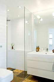 recessed lights over the shower area