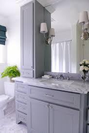 gray bathroom vanity with gray marble countertop