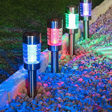 stainless steel solar stake lights colour changing