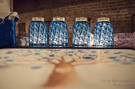 Blue Mason Jars Wedding Decor brides love Mason Jar wedding reception decor centerpieces blue 31