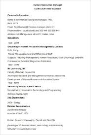 Examples Of Hr Resumes Human Resources Manager Cv Example Hr Resume