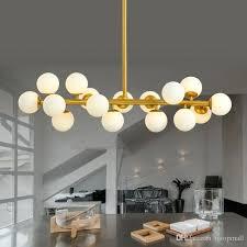 glass bubble chandelier gold fixture modern led light fitting lights warm globes pendant lamp restaurant