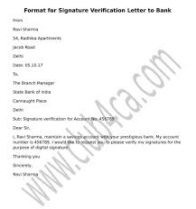 Letter Format For Signature Verification From B On Bank Account