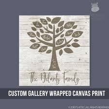 family tree personalized canvas print custom wall art on wood frame on personalized wall art wood with personalized wall art family tree gallery wrapped wood frame canvas