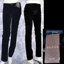 gucci pants. gucci new sz 42 - 6 authentic designer womens velvet logo pants jeans black gucci