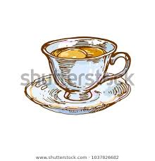 vintage tea cups drawing.  Cups Porcelain Cup Vintage With Tea Coffee Drink Ink Outline Drawing Hand Drawn  Sketch Isolated Vector Illustration For Vintage Tea Cups Drawing V