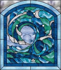 beautiful cresting ocean wave 2 stained glass window panel 20 x 26 in