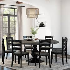 Round reclaimed pine and black metal logan dining table. Moosonee Black Two Tone Solid Wood Farmhouse Dining Table Chair Set
