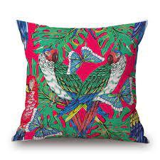Althea Bird Tropical plants Cushion without Pillow Car Waist Back Throw  Pillows 18 inches decorative Pillows capa de almofada Cushion  - AliExpress