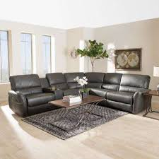 Image Navy Blue Amaris 5piece Grey Leather Reclining Sectional Home Depot Faux Leather Sectionals Living Room Furniture The Home Depot