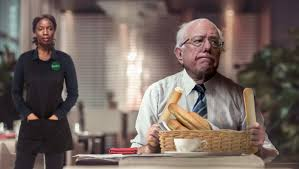 exasperated olive garden waitress asks bernie sanders if he s just gonna sit there eating free breadsticks all night the babylon bee