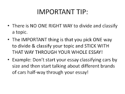 Division Classification Essays A Complex Topic Is Broken Into