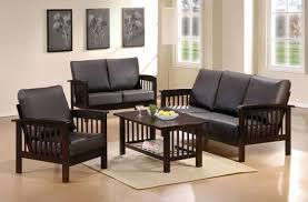 small living room with black wooden sofa sets design modern