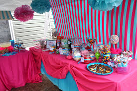 decoration: Beautiful Pink And Blue Details For Lovely Girl Party Using  Candy Decoration Ideas With