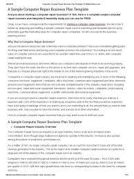 Computer Repair Business Plan Template Pdf Computer Repair Business