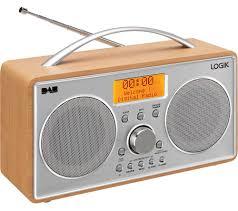 logik l55dab15 portable dab fm radio silver wood