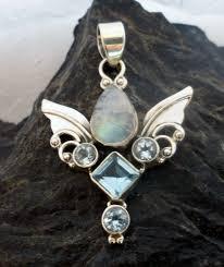 sterling silver moonstone blue topaz guardian angel wings pendant double dragon jewelry ltd