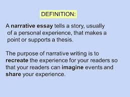 writing the narrative essay narrative essay a narrative essay  narrative essay a narrative essay tells a story usually of a personal experience that