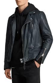 allsaintscarver slim fit leather biker jacket