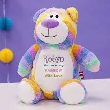 Personalised Embroidered Cubbies Pastel Rainbow Bear Soft Toy The