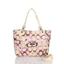 Coach Poppy In Monogram Large Apricot Totes BWY