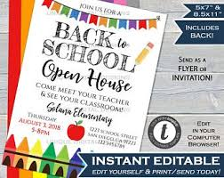 Back To School Invitation Template School Invitation Etsy