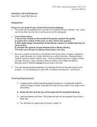 Analytical Response Essay Literary Response Essay Assignment