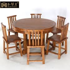 all solid wood dining tables and chairs combination of pure elm dining table table six chairs round table chinese restaurant furniture specials