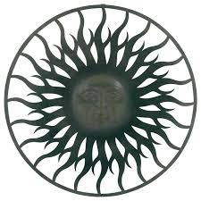 sun outdoor wall art graceful metal face plaque large and moon terracotta
