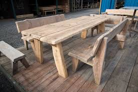 rustic garden furniture. Garden Furniture Wooden Handmade Rustic Pine 8ft Table Plus 2 X 6ft Bench Set Y