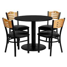 36 round black laminate table set with 4 wood slat back metal chairs black vinyl seat md 0009 gg