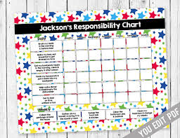 Printable Chore Chart Reward Chart Responsibility Chart Weekly Chore Chart Behavior Chart Neon Kids Chore Chart Printable You Edit Pdf