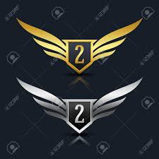 number 3 template wings shield number 3 logo template royalty free cliparts vectors