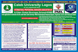gain admission into level caleb university ipma uk  gain admission into 200 level caleb university ipma uk professional diploma • myschoolgist