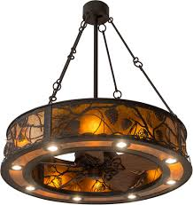 meyda tiffany 181388 whispering pines rustic oil rubbed bronze amber mica ceiling fan light fixture loading zoom
