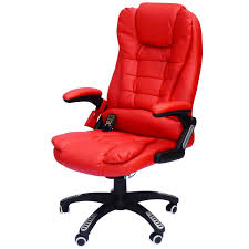 red leather office chair. Hom High Back Executive Ergonomic Pu Leather Heated Vibrating Massage Office Chair Red Kitchen Dining G