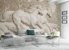 <b>3D Relief Horse</b> Pair Wallpaper for Wall <b>Stereoscopic</b> Sculptured ...
