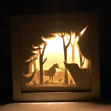 Unicorn Lamp Shadow Box Unicorn Gift Shadow Box Art Etsy