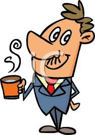drinking coffee clipart. Contemporary Clipart Cartoon Business Man Drinking A Cup Of Coffee  Royalty Free Clipart Picture Throughout L