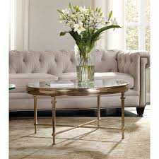 furniture highland park round glass top coffee table in gold
