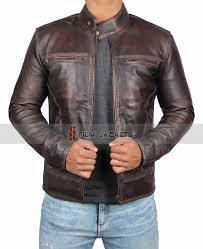 classic style mens waxed jacket distress brown leather jacket