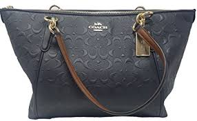 Coach AVA Leather Shopper Tote Bag Handbag (Midnight Embossed)